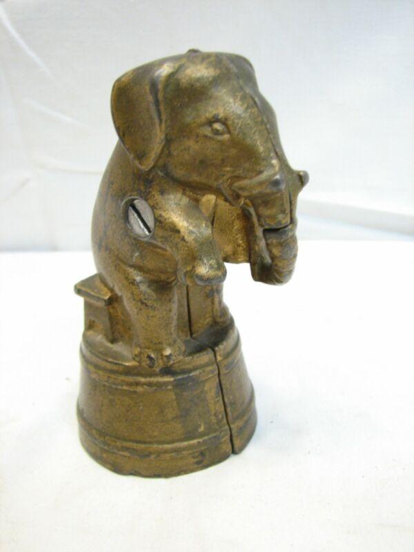 Vintage Cast Iron Circus Elephant Dime Bank Still Coin Animal
