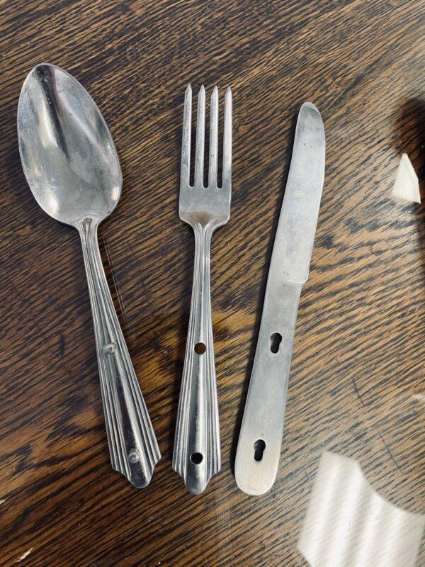 Vintage Girl Scout Utensils - Knife - Spoon - Fork - In GREEN Case USA