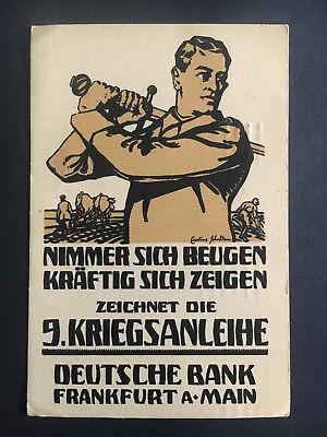 1918 Frankfurt Germany Deutsche Bank Postcard Cover Soldier With Sword