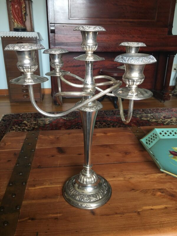 "ANTIQUE HEAVY SILVER PLATED ITALIAN 5 ARM ORNATE 17"" TALL CANDELABRA"