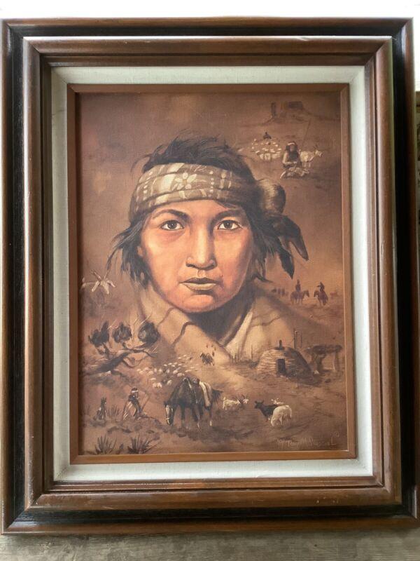 Tony M Sandoval Original Oil On Canvas Young Navajo Man W/ Native Scenes