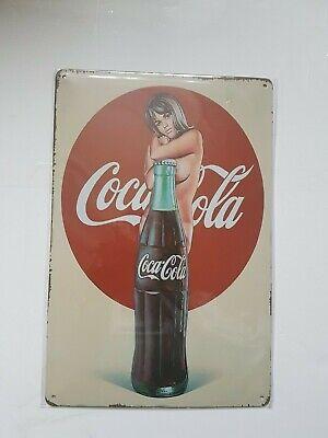 Coca Cola Girl Metal Sign Plaque Man Cave Garage Pub Bar Retro Vintage Shed