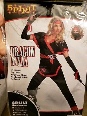 Womens Female Dragon Lady Ninja Costume M 8-10