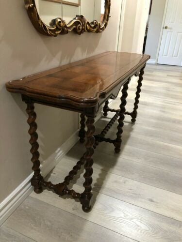"Vintage French Country Oak Barley Twist Legs Sofa Console Table, 56"" x 16"" x 26"""