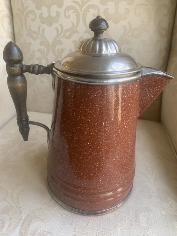 Antique Manning & Bowman Graniteware Coffee Pot, Copper Bottom,Pat'd May 21,1889