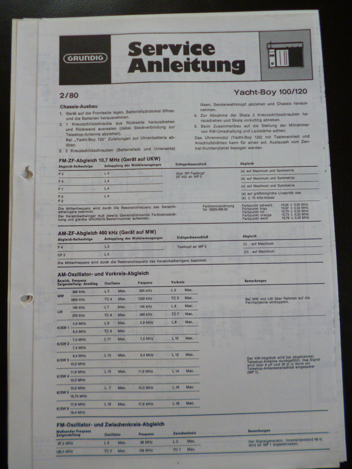 Original Service Manual Grundig Sono Clock 120 Tv, Video & Audio