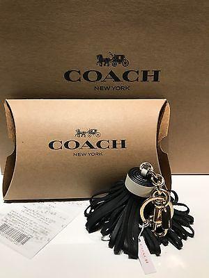 NWT Coach F58505 Leather Tassel Key Fob Chain Logo Bag Charm Black