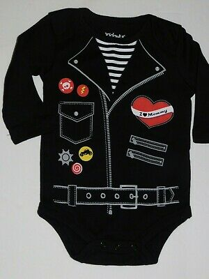Infant Boy 0 3 6 Month Outfit Motorcycle Biker Black One - Bikers Outfit