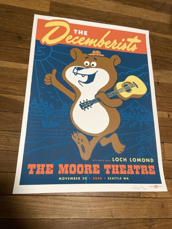 The DECEMBERISTS Seattle 2008 Concert Poster AMES Mint screen print SIGNED #/250