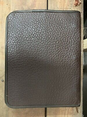 Vintage Brown Leather Zip Case Ring Binder Planner Organizer