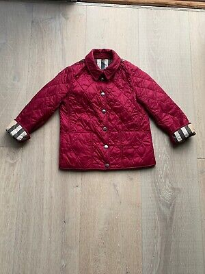 Authentic Burberry Children Girls Red (Burgundy) Nova Check Quilted 6 Y Years 6Y