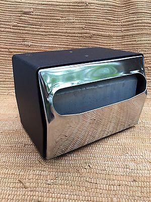 Napkin Holder 2-side Diner Restaurant Style Metal Black Chrome Retro