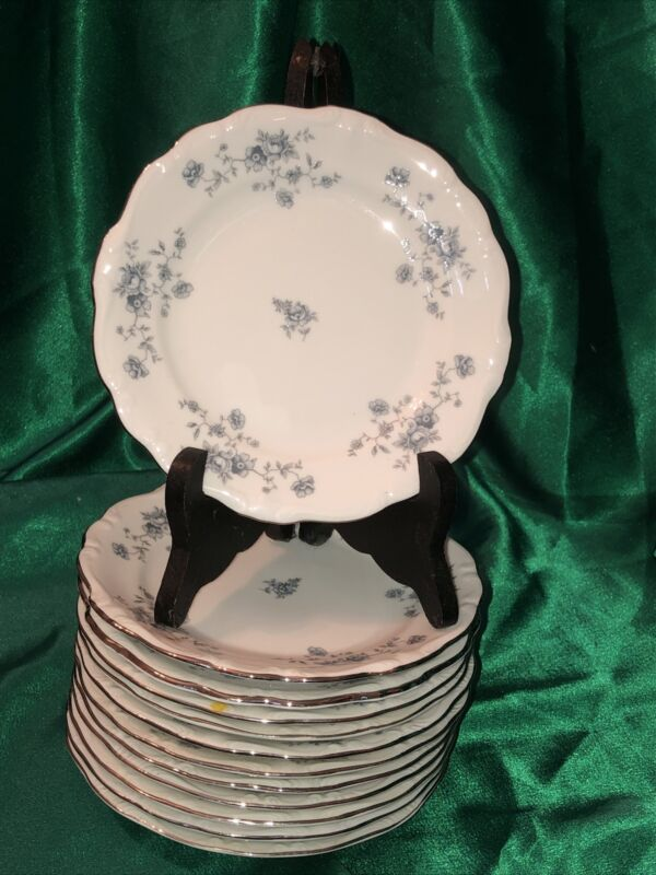 "12 Johann Haviland Blue Garland Bavaria Germany 6"" Bread & Butter Plates"