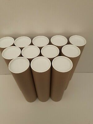 12 x Postal Tubes 75mm x 305mm Manilla with Plastic Cap 3