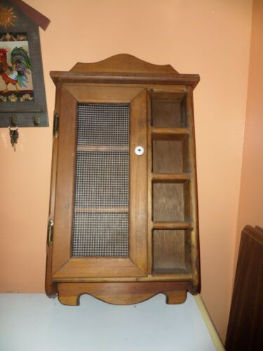 Vintage Wooden Wall Curio Cabinet Rustic Farmhouse Display 21""