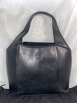 GIANNI VERSACE Vintage Black Leather Handbag ~90's
