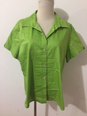 CHICO'S ADDITIONS Button-Front Shirt Blouse Spring Leaf Green Size 3 NWOT!