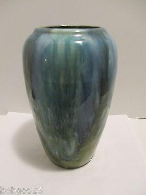 Brush McCoy Pottery Vase Blue Green Drip Glaze Arts & Crafts 8 in tall Vintage