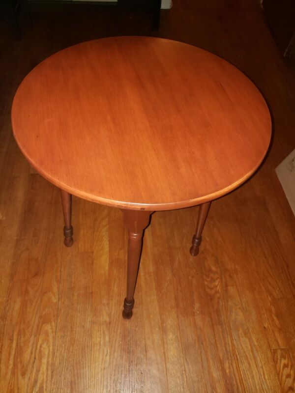 Round Mid Century Cherry Side Table