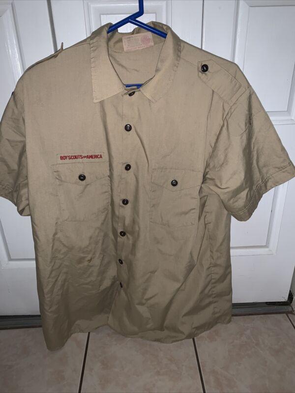 Boy Scout BSA UNIFORM SHIRT  Men's  Extra Large XL Short Sleeve Tan L63