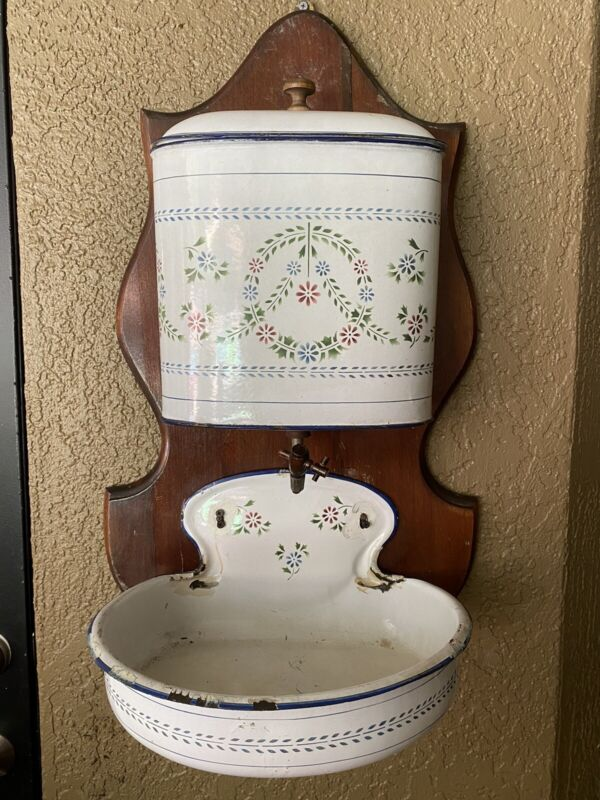 Vintage French White & Floral Enamelware Wall Water Tank w/ Bowl Basin