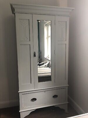 Antique White Painted Wardrobe Armoir Mirror Carved