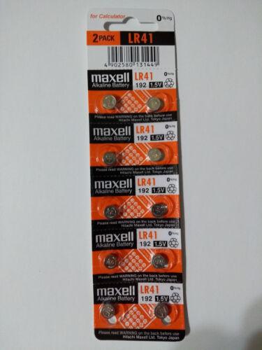 10 Fresh Maxell LR41 AG3 384 392 392A 192 LR736 1.5V Alkaline Battery
