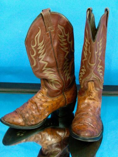 Ostrich, Cowboy, Boots, Don, Cuco, Mens, 9, 1/2, Leather, 2, Distressed, 28.5, Western, VTG