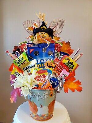 Fall Gift Basket Candy Bouquet Thanksgiving chocolate Arrangement Halloween