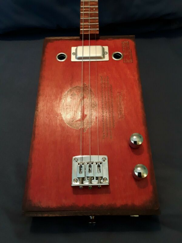 Cigar BOX GUITAR-3-string. paduak + leopard wood  NECK(BEAUTIFUL) BY G.J.M.