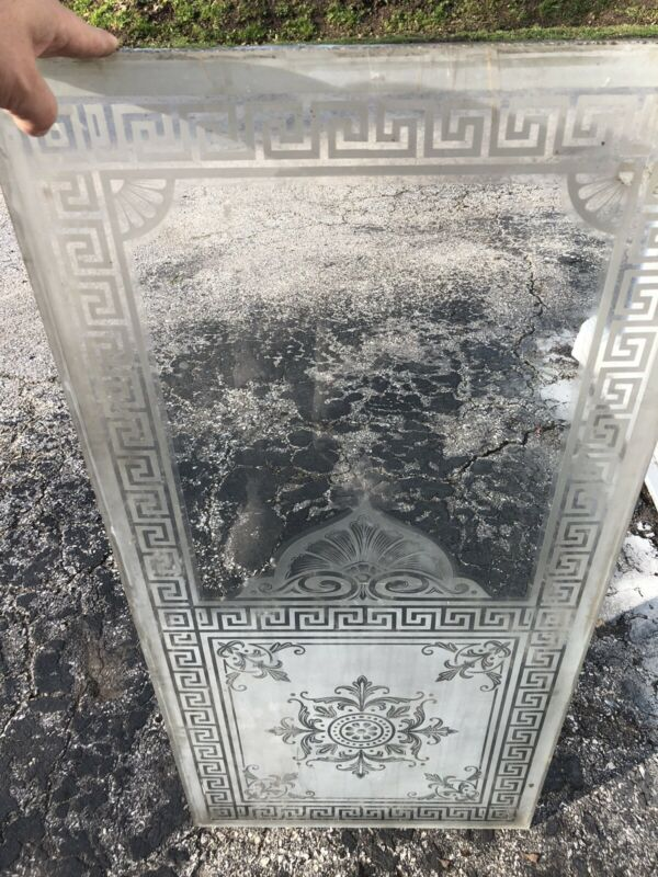"Heavy Victorian Etched Glass Door Window 44 1/4"" X 20 7/8"" X 3/8"""