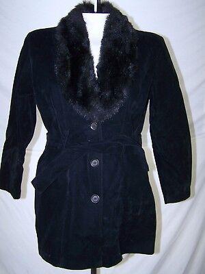 2 Best Black Long Sleeve Faux Fur Coat Jacket Womens Size Medium 8