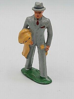 1950s Mens Suits & Sport Coats   50s Suits & Blazers VINTAGE Barclay Lead Business Man in Grey Suit, Overcoat , Train Figure  $18.99 AT vintagedancer.com