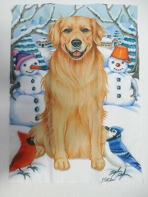 Golden Retriever Dog Pure Breed, Winter Snowman, Cardinal decorative Garden flag