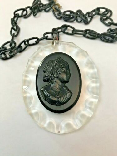 VINTAGE BLACK CELLULOID CAMEO BROOCH / NECKLACE, VICTORIAN MOURNING JEWELRY 1910