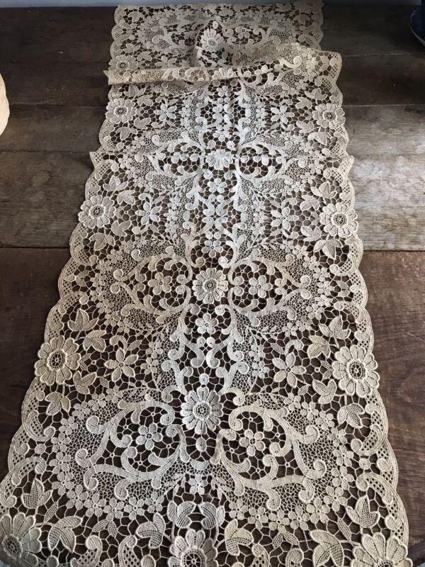 Antique Vintage Lace Floral Runner
