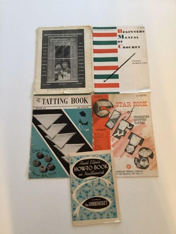 Lot#9. Lot Of 5 Vintage Needlework Books 1917-1950's. Crochet Knitting Tatting.
