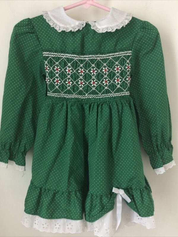 Polly Flinders Green Smocked Polka Dot Dress St Patty
