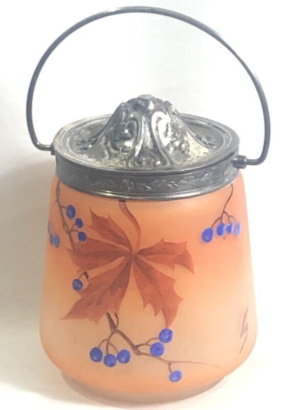VINTAGE ANTIQUE HANDPAINTED GLASS BISCUIT JAR SIGNED PIX