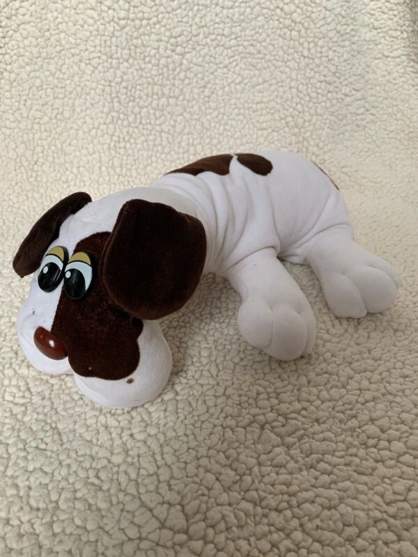 "Vintage 1985 Tonka Pound Puppies Large White Brown Spots Long Ears 18"" Plush Dog"