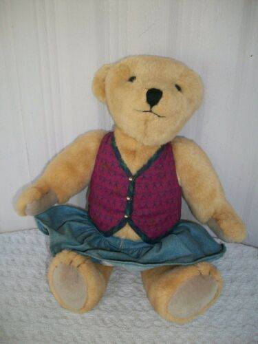 "Vintage 16"" Plush (Jointed) Teddy Bear ~ Vest & Skirt"