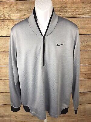 Tiger Woods Nike Dri-Fit Gray Black 1/4 Zip Pullover Jacket Blade Collar Large