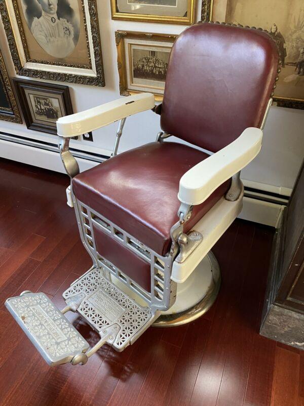 Antique Vintage Kochs Barber Chair Working Hydraulic Koken Lift