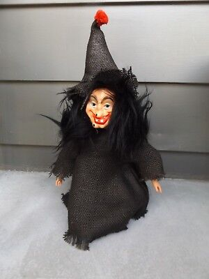 Vintage Halloween WITCH Decoration Doll Handmade ~Black Burlap~OOAK - Vintage Halloween Witch Dolls