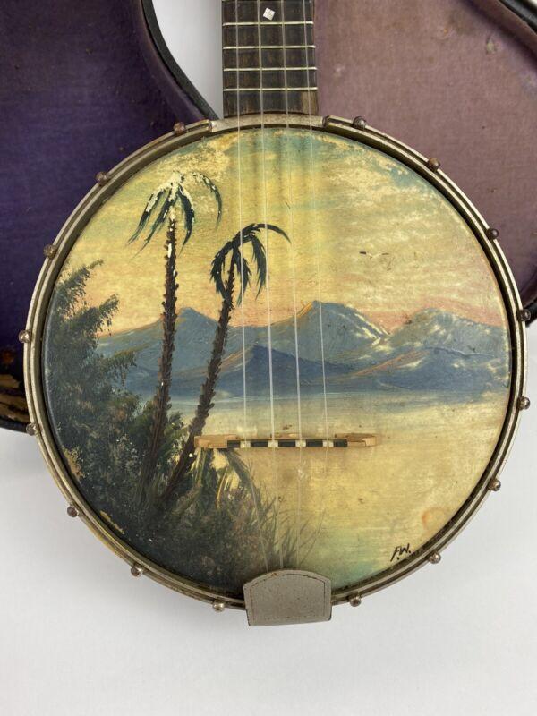 Vintage 1920s-30s Slingerland Maybell Banjo Ukulele w Handpainted Hawaiian Scene
