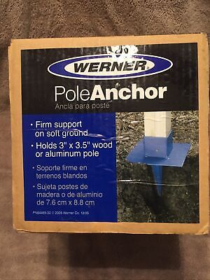 Pole Anchor Hold 3-3.5 Inches Wood Aluminum Pole Blue New