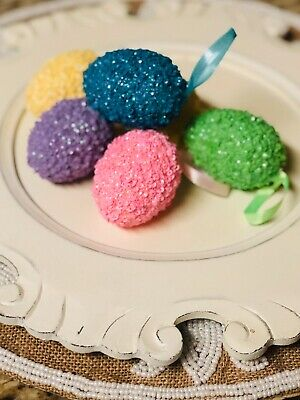 Decorated Easter Eggs (NEW Sequin Glitter Easter eggs Hanging ornaments Spring Home decor 6)