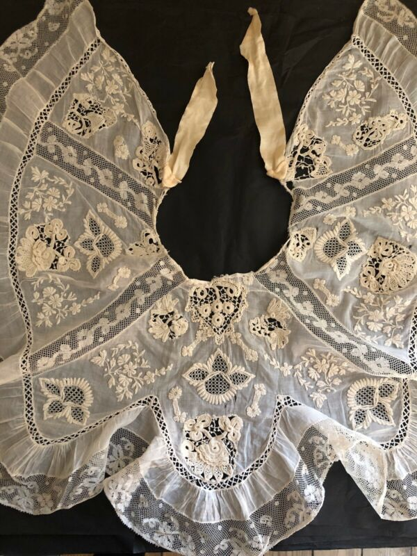 Antique French VAL LACE COLLAR flower embroidery TULLE c1900