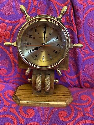 "Vintage Retro Unique Brass ""Ship's Time"" Wheel Clock With Rope Mantel Clock"
