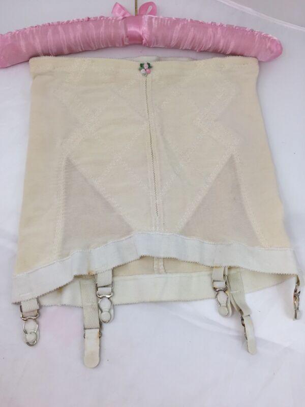 Vintage Playtex Double Diamond Open Bottom Girdle W/Garters Large Waist 29 30